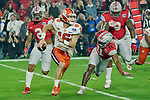 Clemson Tigers quarterback Trevor Lawrence (16) scrambles out of the pocket during the Fiesta Bowl game against the Ohio State Buckeyes on Saturday, Dec 28, 2019 in Glendale, Ariz.  (Gene Lower via AP)