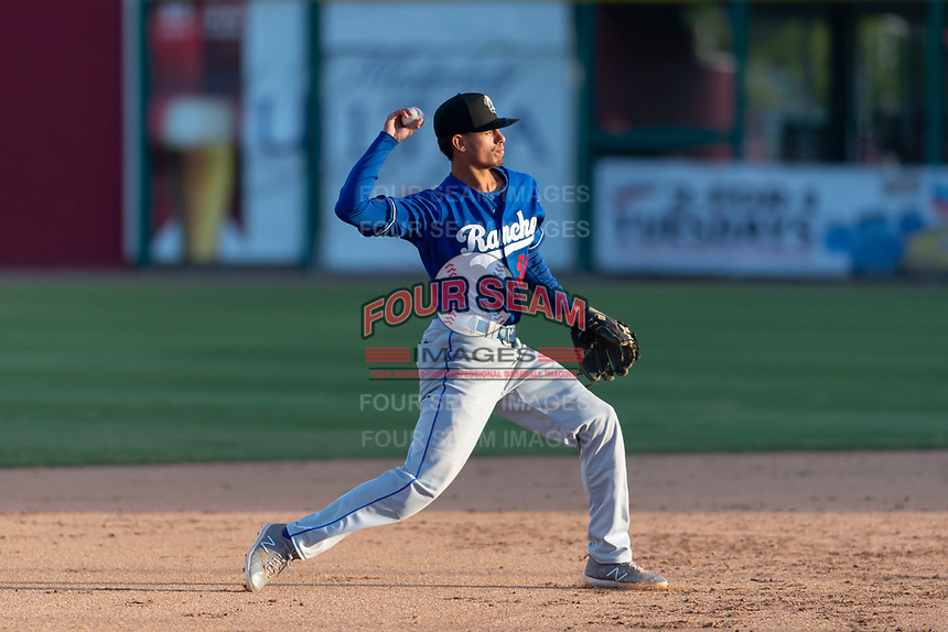 Rancho Cucamonga Quakes shortstop Moises Perez (50) during a California League game against the Visalia Rawhide on April 9, 2019 in Visalia, California. Visalia defeated Rancho Cucamonga 8-5. (Zachary Lucy/Four Seam Images)