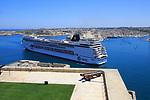 MSC cruise ship in Grand Harbour arriving in  Valletta, Malta