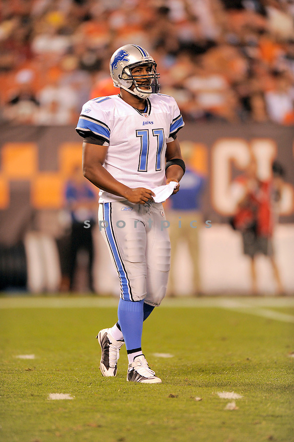 DAUNTE CULPEPPER, of the Detroit Lions  in action  during the Lions game against the Cleveland Browns on August 22, 2009 in Chicago, IL  The Browns beat  the Lions 27-10.