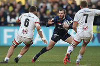 11th January 2020, Parc des Sports Marcel Michelin, Clermont-Ferrand, Auvergne-Rhône-Alpes, France; European Champions Cup Rugby Union, ASM Clermont versus Ulster;   Camille Lopes (asm) runs into the contact with Jordi Murphy and Sean Reidy of Ulster