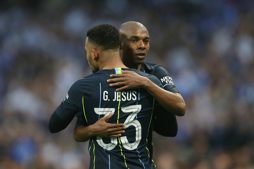 Manchester City's Fernandinho and Gabriel Jesus celebrate at the end of the game<br /> <br /> Photographer Rob Newell/CameraSport<br /> <br /> Emirates FA Cup Semi-Final - Manchester City v Brighton & Hove Allbion - Saturday 6th April 2019 - Wembley Stadium - London<br />  <br /> World Copyright © 2019 CameraSport. All rights reserved. 43 Linden Ave. Countesthorpe. Leicester. England. LE8 5PG - Tel: +44 (0) 116 277 4147 - admin@camerasport.com - www.camerasport.com