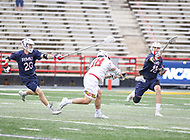 College Park, MD - May 13, 2018: Maryland Terrapins Roman Puglise (38) scores a goal during the NCAA first round game between Robert Morris and Maryland at  Capital One Field at Maryland Stadium in College Park, MD.  (Photo by Elliott Brown/Media Images International)