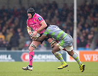 Exeter Cheifs' Mitch Lees is tackled by Newcastle Falcons' Vereniki Goneva<br /> <br /> Photographer Bob Bradford/CameraSport<br /> <br /> Anglo Welsh Cup Semi Final - Exeter Chiefs v Newcastle Falcons - Sunday 11th March 2018 - Sandy Park - Exeter<br /> <br /> World Copyright &copy; 2018 CameraSport. All rights reserved. 43 Linden Ave. Countesthorpe. Leicester. England. LE8 5PG - Tel: +44 (0) 116 277 4147 - admin@camerasport.com - www.camerasport.com