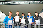 Listowel Community College; Pictured at Listowel Community College after receiving their leaving Cert results were Andrew Nihill, Kevin O'Sullivan, Michelle Murphy, Donal Keane & Nathan Shine.