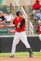 Joe De Pinto (5) of the Kannapolis Intimidators at bat against the Rome Braves at CMC-Northeast Stadium on August 5, 2012 in Kannapolis, North Carolina.  The Intimidators defeated the Braves 9-1.  (Brian Westerholt/Four Seam Images)