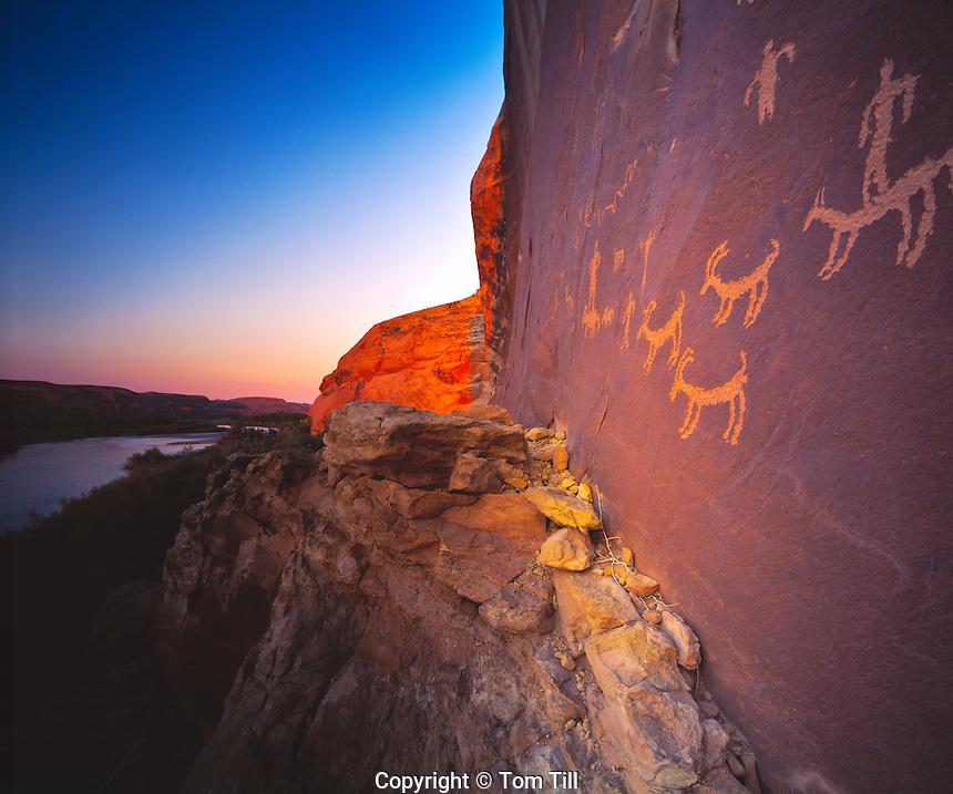 Petroglyphs Along the River, San Juan River, Utah    Ute peroglyphs