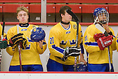 Adam Pettersson (Sweden - 18), Jonathan Johansson (Sweden - 20), Jeremy Boyce Rotevall (Sweden - 11) - Sweden's Under-20 team defeated the Harvard University Crimson 2-1 on Monday, November 1, 2010, at Bright Hockey Center in Cambridge, Massachusetts.