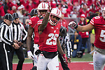 Wisconsin Badgers defensive back Derrick Tindal (25) celebrates during an NCAA College Big Ten Conference football game against the Michigan Wolverines Saturday, November 18, 2017, in Madison, Wis. The Badgers won 24-10. (Photo by David Stluka)
