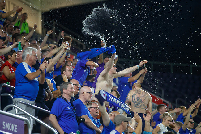Rangers supporters celebrate in the heat of Orlando as Josh Windass scores
