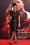 """Actress Meta Golding poses for the photographers during the Spain premiere of the movie """"The Hunger Games: Catching Fire"""" at Callao Cinema in Madrid, Spain. November 13, 2013. (ALTERPHOTOS/Victor Blanco)"""