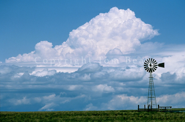 Windmill and Prairie Storm Sky on the Great Plains, East of Harrison, Nebraska, AGPix_0081.