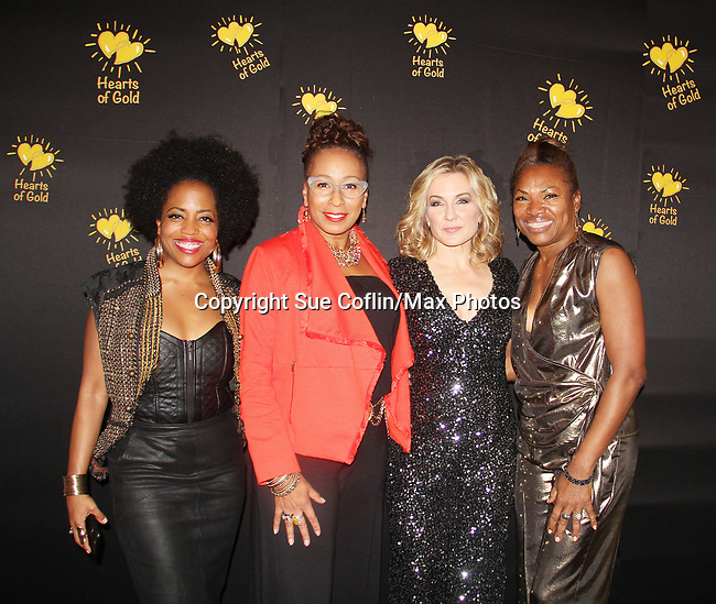 Rhonda Ross - Tamara Tunie - Amy Carlson with Deborah Koenigsberger - Founder & CEO of Hearts of Gold annual All That Glitters Gala - 24 years of support to New York City's homeless mothers and their children - (VIP Reception - Silent Auction) was held on November 7, 2018 at Noir et Blanc and the 40/40 Club in New York City, New York.  (Photo by Sue Coflin/Max Photos)