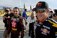 Feb 11, 2007; Daytona, FL, USA; Nascar Nextel Cup drivers and former open wheel racers Juan Pablo Montoya (42) and A.J. Allmendinger (84) during qualifying for the Daytona 500 at Daytona International Speedway. Mandatory Credit: Mark J. Rebilas