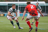 Arthur Ellis of Ealing Trailfinders looks for a way past Nathan Morris of London Welsh during the Greene King IPA Championship match between Ealing Trailfinders and London Welsh RFC at Castle Bar , West Ealing , England  on 26 November 2016. Photo by David Horn / PRiME Media Images