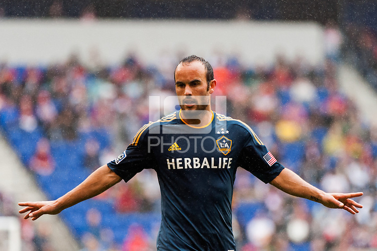 Landon Donovan (10) of the Los Angeles Galaxy during the first half against the New York Red Bulls during a Major League Soccer (MLS) match at Red Bull Arena in Harrison, NJ, on May 19, 2013.