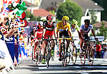 2012 Tour De France Stage 10 Macon Bellegarde-sur-Valserine 11th. Cadel Evans (AUS) BMC Racing, Bradley Wiggins (ENG) Team Sky on 11/07/2012 in Bellegarde-sur-Valserine, France. .. © Pierre Teyssot
