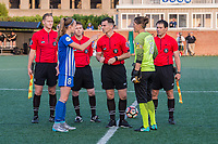 Boston, MA - Friday August 04, 2017: Julie King, Nicole Barnhart and game officials during a regular season National Women's Soccer League (NWSL) match between the Boston Breakers and FC Kansas City at Jordan Field.