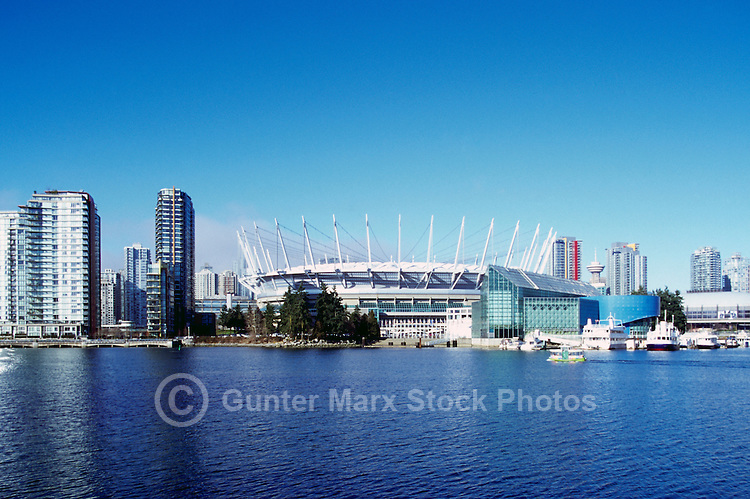 Vancouver Skyline, BC, British Columbia, Canada - BC Place Stadium (New Roof completed in 2011), and Residential High Rise Condominium Buildings at False Creek