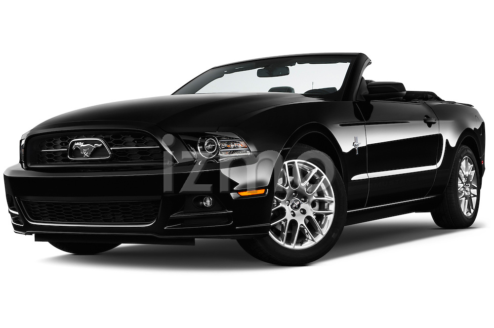 Low aggressive front three quarter view of a .2013 Ford Mustang V6 Premium CV