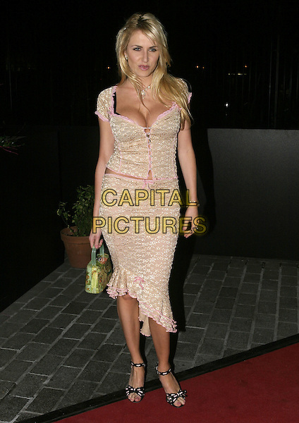 NANCY SORRELL.ITV's An Audience with Joe Pasquale - Arrivals,.The London Television Centre, London, .February 15th 2005..full length pink gold beige top corset style skirt matching .Ref: AH.www.capitalpictures.com.sales@capitalpictures.com.©Capital Pictures.