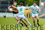 Conor Cox Kerry in action against Pakie Moran Limerick in the Munster Junior Football Championship Semi Final in Ennis on Sunday.