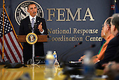 United States President Barack Obama delivers remarks on the Government Shutdown at FEMA's National Response Coordination Center in Washington, DC, USA, 07 October 2013.  In those remarks, the President spoke of 200 government workers who were called back to work even though they were not being paid.<br /> Credit: Shawn Thew / Pool via CNP
