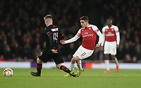 Arsenal's Lucas Torreira and Rennes' Benjamin Bourigeaud<br /> <br /> Photographer Rob Newell/CameraSport<br /> <br /> Football - UEFA Europa League Round of 16 Leg 2 - Arsenal v Rennes - Thursday 14th March 2019 - The Emirates - London<br />  <br /> World Copyright © 2018 CameraSport. All rights reserved. 43 Linden Ave. Countesthorpe. Leicester. England. LE8 5PG - Tel: +44 (0) 116 277 4147 - admin@camerasport.com - www.camerasport.com