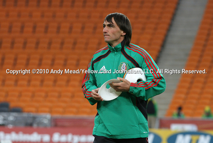 10 JUN 2010: Assistant coach Juan Iribarren. The Mexico National Team held a light practice at Soccer City Stadium in Johannesburg, South Africa the day before playing South Africa in the opening match of the 2010 FIFA World Cup.