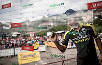 Esteban Chaves (COL/Mitchelton-Scott) signing on<br /> <br /> Stage 15: Tineo to Santuario del Acebo (154km)<br /> La Vuelta 2019<br /> <br /> ©kramon
