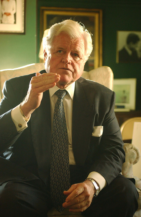 11/4/03.KENNEDY ON MEDICARE CONFERENCE--Sen. Edward M. Kennedy, D-Mass., during a briefing with reporters in his Capitol hide-away on the Medicare conference..CONGRESSIONAL QUARTERLY PHOTO BY SCOTT J. FERRELL