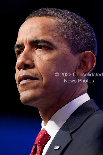 United States President Barack Obama listens to a question during a news conference at the Nuclear Security Summit at the Washington Convention Center in Washington, D.C., U.S., on Tuesday, April 13, 2010. Obama urged world leaders today to confront the prospect of nuclear terrorism and take concrete action to head off what he called one of the greatest threats to global security..Credit: Andrew Harrer / Pool via CNP