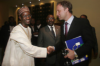 Nuhu Ribadu, Executive Chairman of Economic and Financial Crimes Commision greets Jens Erik Grøndahl, Deputy Head of Mission at the Norwegian Embassy. Nigerian Justice minister Chief Bayo Ojo in the middle. © Fredrik Naumann