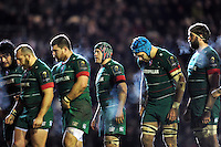 Julian Salvi and the rest of the Leicester Tigers forwards look to pack down for a scrum. European Rugby Champions Cup match, between Leicester Tigers and the Scarlets on January 16, 2015 at Welford Road in Leicester, England. Photo by: Patrick Khachfe / JMP