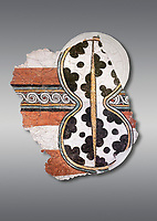 The 'figure of eight shield'  Mycenaean fresco wall painting, Mycenae Acropolis, Greece Cat No 11671. National Archaeological Museum, Athens. Grey Background<br /> <br /> 12th-14th cent BC.<br /> <br /> The Mycenaean 'figure of eight shield' were originaly made of cows hide and was the symbol of a goddess of war.