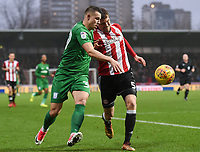 Preston's Billy Bodin battles with Brentford's Andreas Bjelland<br /> <br /> Photographer Jonathan Hobley/CameraSport<br /> <br /> The EFL Sky Bet Championship - Brentford v Preston North End - Saturday 10th February 2018 - Griffin Park - Brentford<br /> <br /> World Copyright &copy; 2018 CameraSport. All rights reserved. 43 Linden Ave. Countesthorpe. Leicester. England. LE8 5PG - Tel: +44 (0) 116 277 4147 - admin@camerasport.com - www.camerasport.com