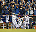 Royals team group,<br /> OCTOBER 5, 2014 - MLB :<br /> (2L-R) Wade Davis, Johnny Giavotella, Norichika Aoki, Raul Ibanez and Erik Kratz of the Kansas City Royals celebrate winning the American League Division Series (ALDS) Game 3 against the Los Angeles Angels at Kauffman Stadium in Kansas City, Missouri, United States. (Photo by AFLO)