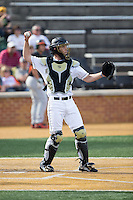 Wake Forest Demon Deacons catcher Nick Bisplinghoff (39) throws the ball back to his pitcher during the game against the Miami Hurricanes at Wake Forest Baseball Park on March 21, 2015 in Winston-Salem, North Carolina.  The Hurricanes defeated the Demon Deacons 12-7.  (Brian Westerholt/Four Seam Images)