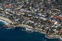 aerial photograph of beach front homes in Orange County, California