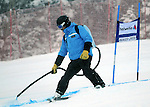 December 4, 2011:  A course worker marks the Red Tail course prior to the Giant Slalom at the Audi Birds of Prey FIS World Cup ski championships at Beaver Creek Ski Resort, Colorado.