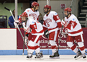 Evan Rodrigues (BU - 17), Ahti Oksanen (BU - 3), Ryan Santana (BU - 15), Matt Nieto (BU - 19) - The Boston University Terriers defeated the visiting Northeastern University Huskies 5-0 on senior night Saturday, March 9, 2013, at Agganis Arena in Boston, Massachusetts.