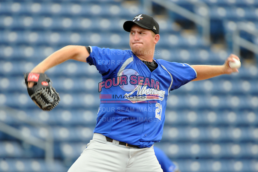 Aberdeen Ironbirds pitcher Bennett Parry (21) during game against the Staten Island Yankees at Richmond County Bank Ballpark at St.George on July 18, 2012 in Staten Island, NY.  Staten Island defeated Aberdeen 3-2.  Tomasso DeRosa/Four Seam Images