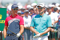 Justin Rose (ENG) and Henrik Stenson (SWE) wait to tee off on the first hole during the third round of the 118th U.S. Open Championship at Shinnecock Hills Golf Club in Southampton, NY, USA. 16th June 2018.<br /> Picture: Golffile | Brian Spurlock<br /> <br /> <br /> All photo usage must carry mandatory copyright credit (&copy; Golffile | Brian Spurlock)