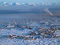 Tomtor viewed from a nearby mountain. Tomtor is one of the coldest inhabited places on earth having recorded some of the lowest temperatures.