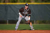 St. Bonaventure Bonnies second baseman Jared Baldinelli (6) during a game against the Dartmouth Big Green on February 25, 2017 at North Charlotte Regional Park in Port Charlotte, Florida.  St. Bonaventure defeated Dartmouth 8-7.  (Mike Janes/Four Seam Images)