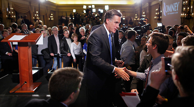 Mitt Romney greets supporters following the Iowa caucus Tuesday, January 3, 2012 in Des Moines, Iowa.  (Christopher Gannon/GannonVisuals.com/MCT)
