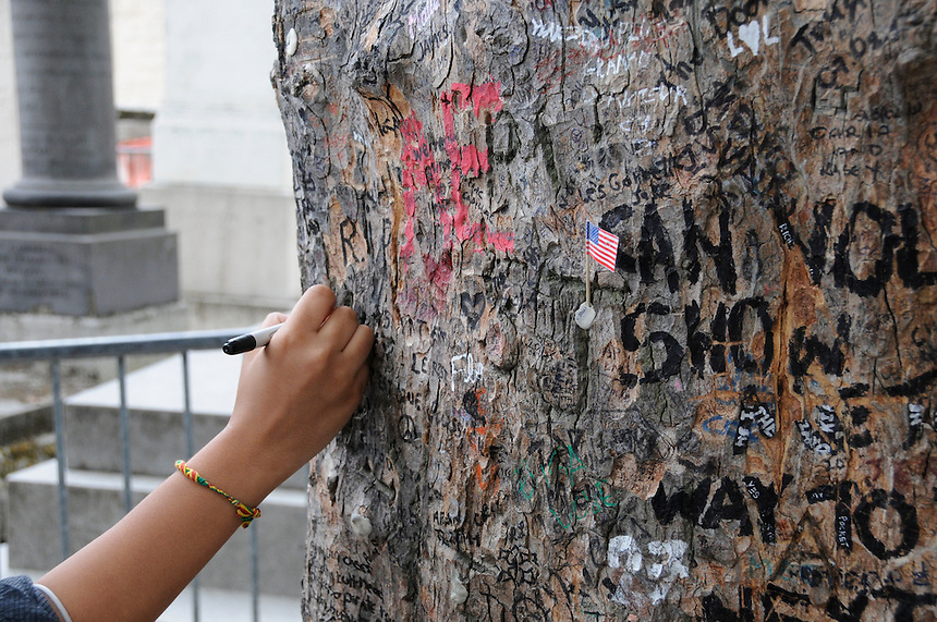 A visitor writes a message on a tree near Jim Morrison's grave at Pere Lachaise cemetery in Paris.