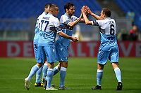 Marco Parolo of Lazio celebrates wit team mates Lucas Leiva and Adam Marusic after scoring the goal of 1-0<br /> Roma 5-5-2019 Stadio Olimpico Football Serie A 2018/2019 SS Lazio - Atalanta <br /> Foto Andrea Staccioli / Insidefoto