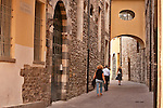 Street scene in Como, Italy a city on Lake Como