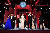 President Donald Trump and First Lady Melania Trump appear along with family members and Vice President Mike Pence and his wife Karen Pence at the Liberty Ball at the Washington Convention Center on January 20, 2017 in Washington, D.C. Trump will attend a series of balls to cap his Inauguration day.    <br /> Credit: Kevin Dietsch / Pool via CNP